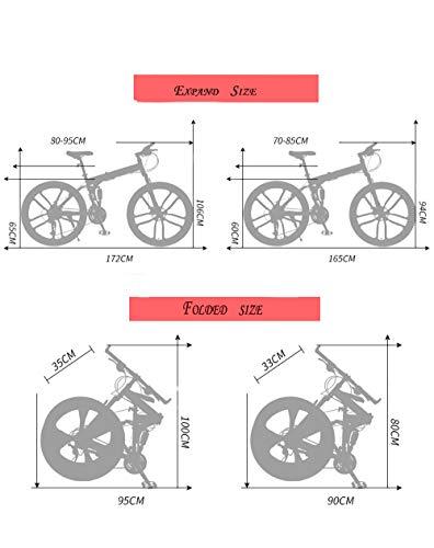 HDM Mountain Bike Pieghevole per Uomini e Donne Adulti, Bicicletta Sportiva da Montagna, MTB con 21/24/27-Stage Shift… Biciclette