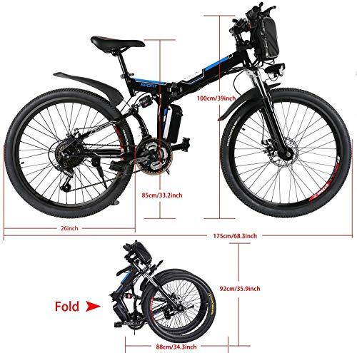 Jackbobo Mountain Bike Pieghevole, Bici elettriche da Strada a Sospensione Completa con Freni a Disco, Bici da Mountain… Biciclette