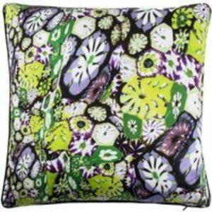 Cuscino arredo in seta Murrine verde, 40x40 cm