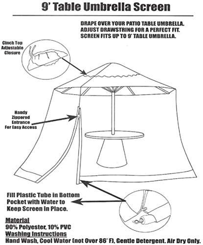 Portatile Zanzariera for ombrellone, schermo all'aperto giardino Ombrellone Tavolo Patio Zanzariera poliestere della… Casa e giardino