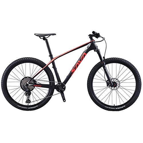 SAVADECK Flamme1.0 Carbon Mountain Bike 27.5″/29″ Telaio in Fibra di Carbonio Hardtail Mountain Bike Ultralight XC MTB con Trasmissione Shimano Deore M6100 a 12 velocità Biciclette