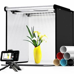 SAMTIAN Tenda Studio Light Box Kit 40 * 40 * 40cm Box Fotografico LED Bi Colore 3200-5600K Dimmerabile Set Fotografico… Foto e Video