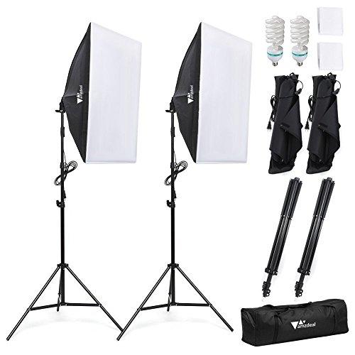 Amzdeal Softbox kit 2 Professionale Illuminazione 1124W, Luce Continua 5500K con 2 x Lampade 50 x 70cm, 2 x Supporto e… Foto e Video
