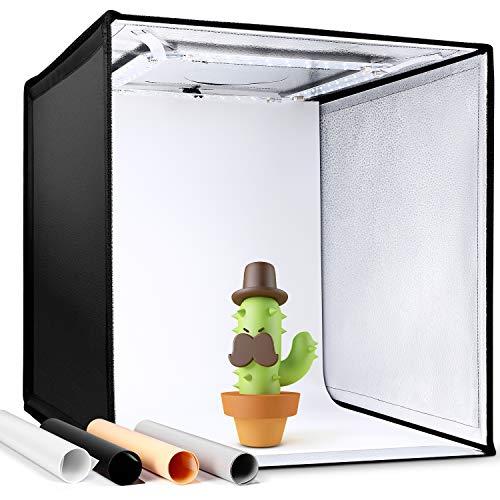 Amzdeal Studio Fotografico Tenda 50x50x50cm Portatile con 3000-6500K 4000 LM Dimmerabile Light Box per Fotografico con 4… Foto e Video