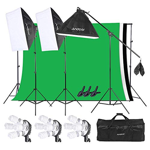 Softbox Kit Fotografica per Studio, Andoer – Illuminazione Fotografia Set Flash, 3 Set Softbox Luce Luminoso Dimmerbile… Foto e Video