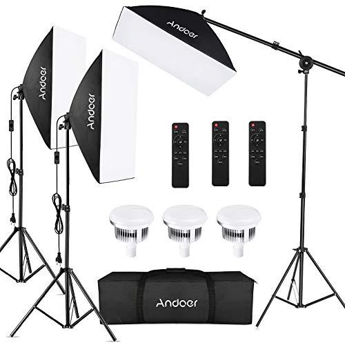 Softbox Fotografico Set con Telecomando, Andoer Illuminazione Continua Luce da Studio Softbox 50x70cm, Lampadine 85W… Foto e Video