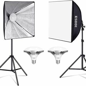 ESDDI Softbox Led 900W Luci Set Fotografico Professionale con 5400K E27 Socket Light, 2 Riflettori 50 x 50 cm,2… Foto e Video