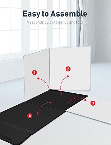 ESDDI Tenda Studio Light Box Fotografico 40 x 40cm Portatile con Regolabile Led Stand Luce, 3 Inferiore Canvas. Bianco… Foto e Video