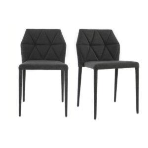 Sedie design colore grigio scuro gruppo di 2 KARLA