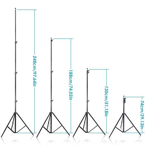 Neewer 2,6m*3m Supporto per Fondale & 1,8m*2,8m Sfondo (Bianco, Nero, Verde) per Ritratti, Fotografia di Prodotti e… Foto e Video