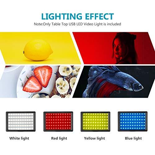 Neewer 2pz Pannello Luce LED Dimmerabile 5600K a USB con Regolabile Stativo & Filtri Colorati per Riprese da Tavolo o… Foto e Video