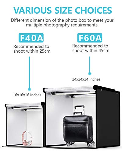 SAMTIAN Tenda Studio Light Box Kit 40 * 40 * 40cm Box Fotografico LED Bi Colore 3200-5600K Dimmerabile Set Fotografico… Foto e Video