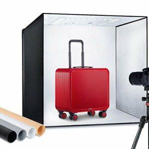 24 Luminosità regolabile 60cm Gancio Pieghevole Portatile Professionale Supporto da tavolo Fotografia Kit illuminazione… Foto e Video
