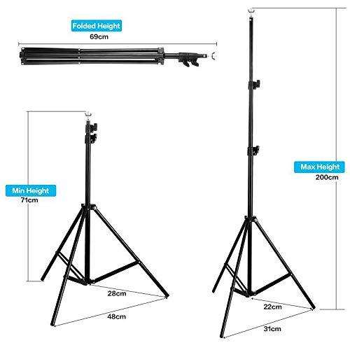 Supporti per Sfondi 2*3m, Bonvvie Kit Sistema Supporto Telo Fotografico di Regolabile per Studio Video Fotografico con… Foto e Video