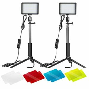 Neewer 2pz Pannello Luce LED Dimmerabile 5600K a USB con Regolabile Stativo & Filtri Colorati per Riprese da Tavolo o… Foto e Video