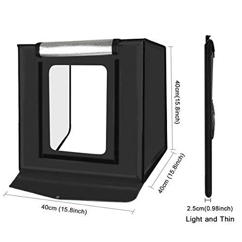 YOTTO Studio fotografico tenda 40x40x40 cm Portatile Tenda Studio Luminosa per Fotografia Pieghevole 2X 32 Luce LED… Foto e Video