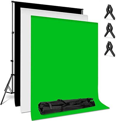 amzdeal Supporto per Fondale Sfondo Bianco Nero Verde per Foto, Fondale Fotografico Kit, Fotografia di Prodotti e… Foto e Video