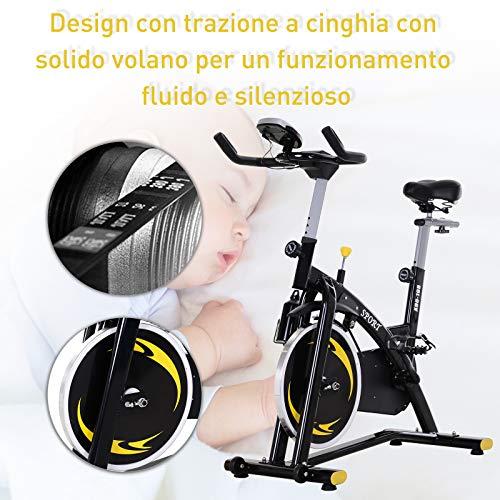 homcom Spinning Cyclette, Spin Bike Regolabile con Schermo LCD e Volano 10kg per Casa o Palestra, Nera e Gialla attrezzature sportive