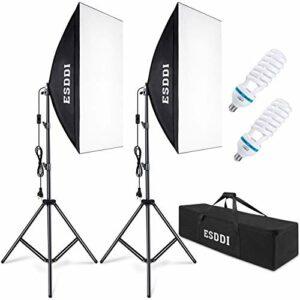 Dove acquistare ESDDI Softbox Fotografico Illuminazione Kit 2x 50x 70cm, 2x 85W Lampadine con Continua Luce 5500K Fotografia, 2…