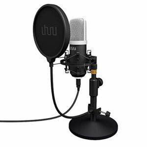 UHURU Microfono Podcast, USB per PC Kit Microfono a Condensatore Professionale 192Khz/24 Bit con Supporto da Scrivania… Strumenti e accessori musicali