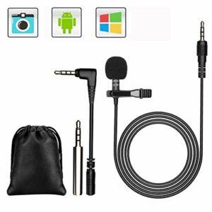 GeekerChip 3.5mm Mini Microfono, Microfono Lavaliera Condensatore Omnidirezionale,Microfono per Cellulare con 2… Microfoni