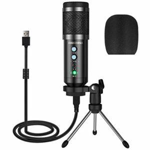 Microfono a Condensatore, ansinna Microfono USB Plug-And-Play per Giochi, Podcast, Youtube, Riproduzione Vocale e… Strumenti e accessori musicali