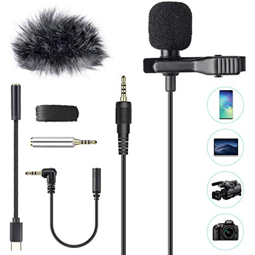 AGPTEK Lavaier Microfono per PC Smartphone con Clip e Un Parabrezza Incluso Adattatore Tipo-c Microfono Esterno Trust… Strumenti e accessori musicali