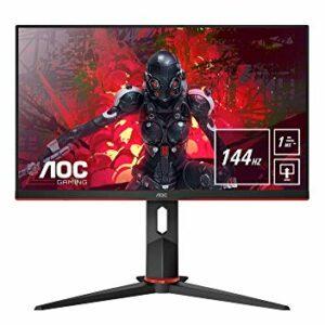 AOC 24G2U/BK Monitor da Gaming Flat 23.8″ IPS, Frameless, FHD 1920 x 1080 a 144 Hz, Tempo di Risposta 1 msec/MPRT, 2 x HDMI, 1 DP, 4 x USB, Speaker, Regolabile in Altezza, FreeSync, Nero/Rosso Informatica