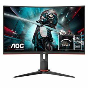 AOC Monitor Italia CQ27G2U/BK Monitor Gaming Serie G2 Curvo da 27″, WQHD 2560 x 1440 a 144 Hz, HDMI, DisplayPort, FreeSync, Tempo di Risposta 1 ms, Nero/Rosso Informatica