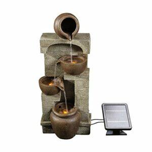 Peaktop Luci di ornamento in bronzo da giardino con fontana ad energia solare PT-SF0001 Casa e giardino