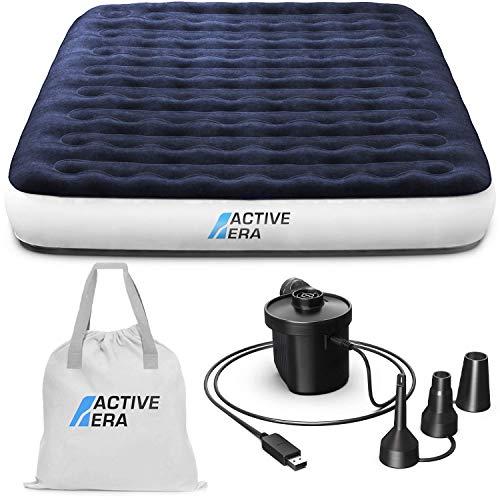 Active Era Materasso Gonfiabile da Campeggio Matrimoniale con Pompa Ricaricabile USB – con Cuscino Integrato, Borsa da… Campeggio e trekking
