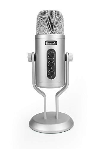 Amazon Basics – Microfono professionale USB a condensatore, con controllo del volume e display OLED, argento Strumenti e accessori musicali