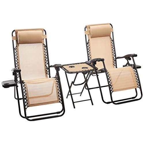 Amazon Basics – Sedie a sdraio Zero Gravity con tavolino, set da 2, marrone chiaro Casa e giardino
