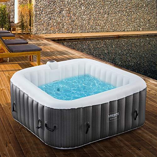Arebos – Whirlpool Barcelona gonfiabile, per interni ed esterni, 6 persone,130 ugelli massaggianti, con riscaldamento… Casa e giardino