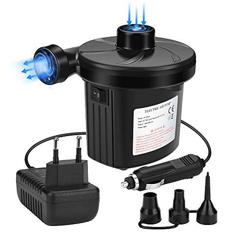 Awroutdoor Pompa Elettrica 2 in 1 Gonfiando Sgonfiando Air Pump Gonfiatore Materassino 3 Ugelli Campeggio Gonfiabile… Campeggio e trekking