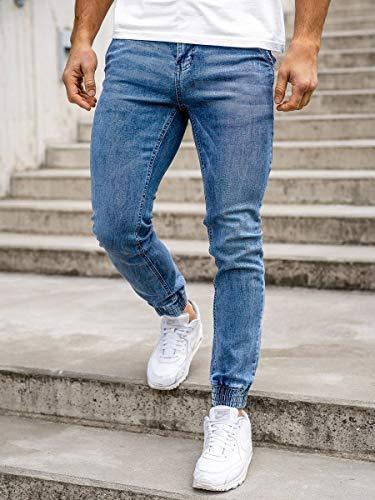 BOLF Uomo Pantaloni Jeans Jogger Denim Coulisse Elasticizzati Tempo Libero Gamba Stretta Slim Fit Casual Style [6F6] Abbigliamento e accessori