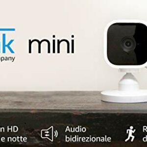 Blink Mini – Videocamera di sicurezza intelligente per interni, plug-in, compatta, con video in HD a 1080p, rilevazione… Sicurezza e videosorveglianza