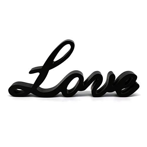 """CVHOMEDECO. Nero Segno di parole in legno Posizione libera """"Love"""" Scrivania / Scaffale / Parete di casa / Ufficio Arte della decorazione, 26 x 11,4 x 2,5 cm Casa e cucina"""