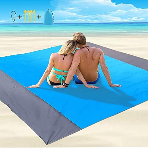Coperta da Spiaggia Grande Tappetino da Spiaggia Impermeabile Senza Sabbia 200 * 210cm Coperte da Picnic Leggere con 4… Campeggio e trekking