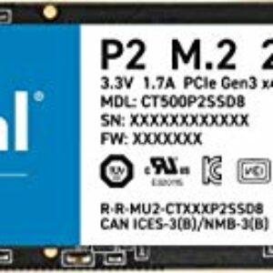 Crucial P2 CT500P2SSD8 SSD Interno, 500GB, fino a 2400 MB/s, 3D NAND, NVMe, PCIe, M.2 Informatica