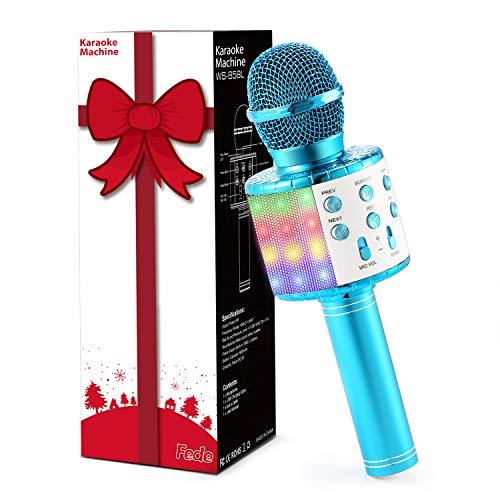 Fede Microfono Karaoke Bluetooth Wireless per Bambini, Karaoke Portatile con Luci LED Multicolore per Cantare, Funzione… Strumenti e accessori musicali