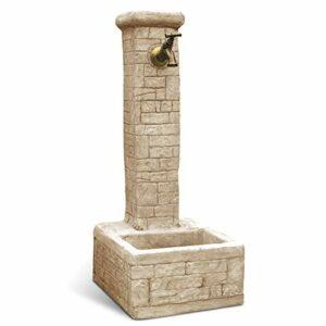KAM Fontana da Giardino Esterno in Cemento Pietra Modello Iglesias Variante Anticato Nocciola Casa e giardino