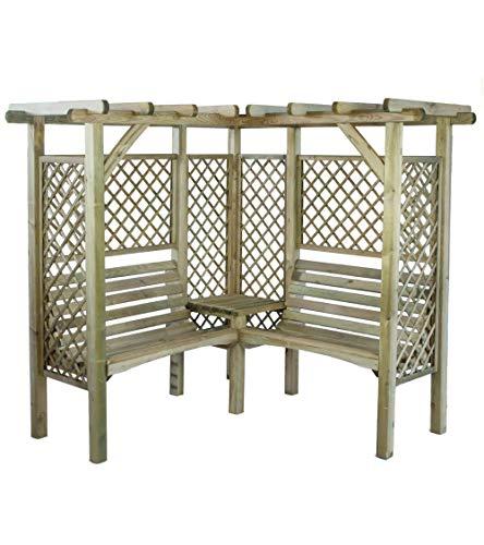 MIO-GIARDINO Milton – Pergola angolare in legno da giardino con 2 panchine e tavolino, misure esterne: 1.94m x 1.94m x 1… Casa e giardino