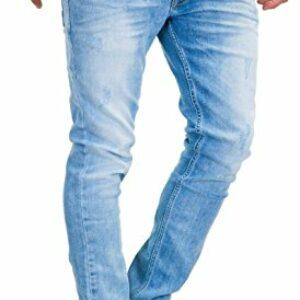 MERISH Jeans Uomo 5-Pocket Stile,StraightFit, Gamba a Tubo, Distrutto-Wash, patchato, Contrasto Decorative Modello… Abbigliamento e accessori