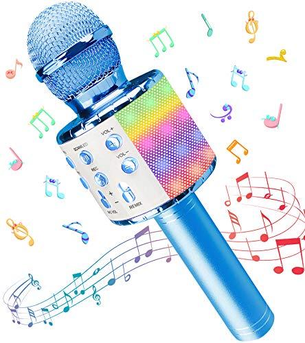 Microfono Karaoke, Wireless Bluetooth LED Flash Microfono con Altoparlante, Portatile Karaoke Player Compatibile con… Strumenti e accessori musicali