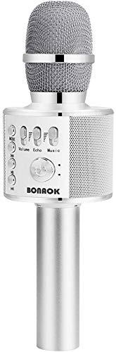 Microfono Karaoke Wreless Bluetooth BONAOK, 3-in-1 Palmare Portatile Karaoke Mic Regalo di Compleanno Altoparlante per… Strumenti e accessori musicali