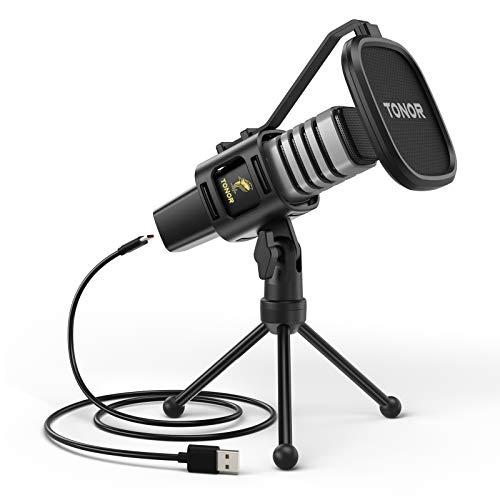 Microfono USB, TONOR Condensatore Computer PC Mic con Supporto per Treppiede, Filtro Pop, Supporto Shock per Gaming… Strumenti e accessori musicali