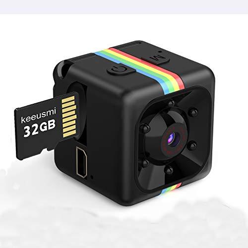 Mini Telecamera Spia Nascosta con Micro sd 32GB, Full HD 1080P Microcamera Spia con Rilevamento di Movimento Portatile…