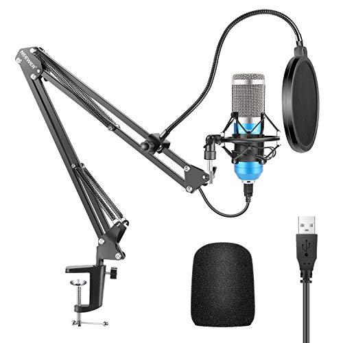 Neewer Microfono a USB 192KHz/24Bit Plug & Play da Computer Cardioide a Condensatore (Blu) con Professionale Audio… Strumenti e accessori musicali