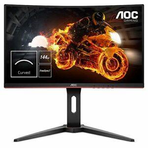 AOC C24G1 Monitor Gaming Curvo da 24″, Pannello VA, FHD 1920 x 1080 a 144 Hz, 1 Porta D-SUB, 2 Porte HDMI, 1 Porta Display, Tempo di Risposta 1 msec, Nero Informatica